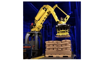 FANUC Robotics America Corporation's M-410iB is designed for precise, high-speed and heavy-payload case and bag palletizing and de-palletizing, layer handling, press tending, machine load/unload, and part transfer.