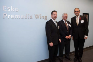 Ian Baitz, Chair of GCM, Ron Larry, VP Software Business Development, Esko, and Adam B. Kahan, VP, University Advancement at the newly dedicated Esko Premedia Wing.