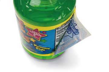 The Peel N' Tear label for the brand Tum-E Yummies from BYB Brands helped win a 2012 Beverage World Global Packaging Design for Bemis Company for its unique design.