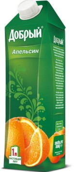 Tetra Gemina Aseptic Leaf container holding Russia's Dobry orange juice.
