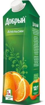 Tetra Gemina Aseptic Leaf container holding Russia's Dobry orange juice.