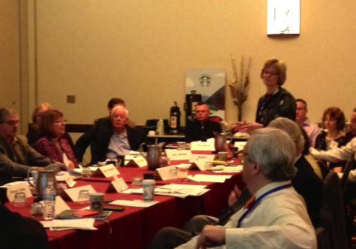 Donna Harman, President & CEO of AF&PA, makes a presentation on the newly approved Paper Check Off program.