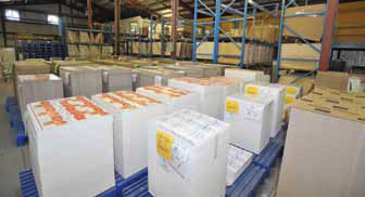 A small sampling of finished paperboard cartons produced and printed at the Ingersoll Paper Box facility.