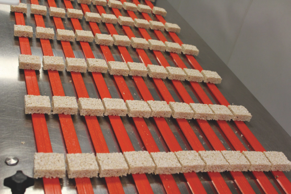 Marshmallow squares coming out of the processing area are spread out in neat multiple rows for packaging.