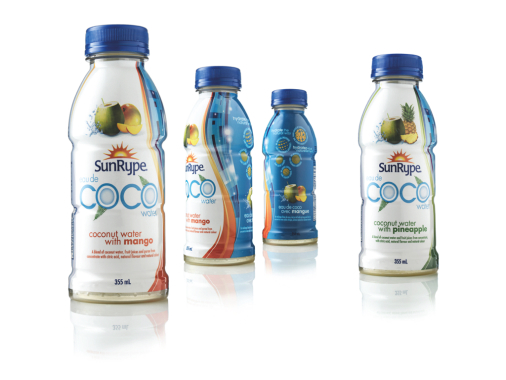 SGK's brand Anthem has recently developed a refreshed new packaging look and a contemporary brand identity to highlight the high quality and natural goodness of SunRype's Coco range of coconut water beverages.