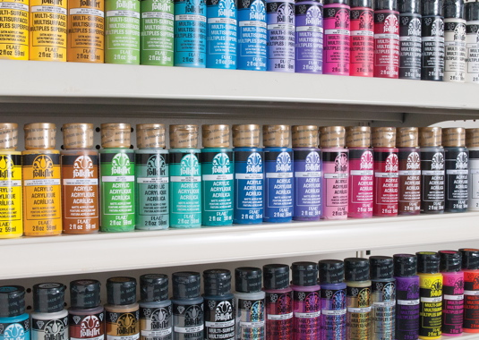 Plaid Enterprises manufactures and packages 20 of its own bestselling brands of arts and crafts paints such as Folk Art, Apple Barrel, Mod Podge and other labels.