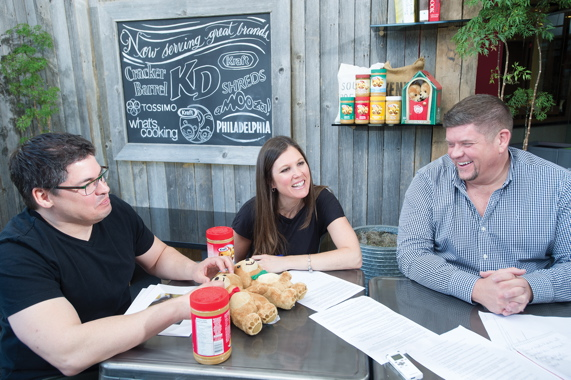 Kraft Canada's Amy Rawlinson shares a light moment with Pigeon Brands creative director Todd Ellis (left) and group account director Jeffrey Weaver.