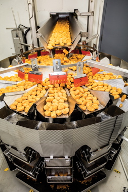 Supplied by Heat and Control, the fully-automatic Ishida brand multihead weighscales measure out precise portions of breaded fish strips fed inside a Hayssen vertical bagger.