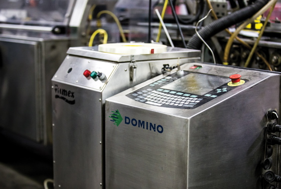Placed next to a Fumex fume extractor, a Domino S-Series laser coder generates permanent, highly-legible product codes etched into the paperboard boxes containing High Liner's frozen products.