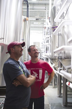 Flying Monkey president Peter Chiodo (left) and automation specialist Chris Mavreas are very happy with the Omron technology that makes its brewing process more consistent.