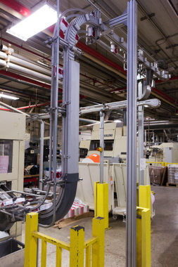The back view of a cleated Flexlink elevator conveyor at the Grand River Ohsweken facility.
