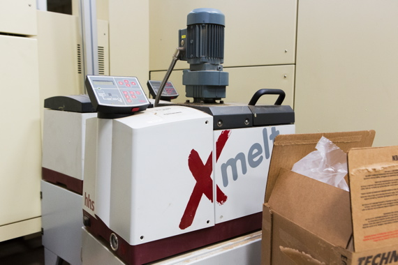 One of many Baumer hhs model Xmelt adhesive melters used to secure individual cigarette packs at the Ohsweken facility.