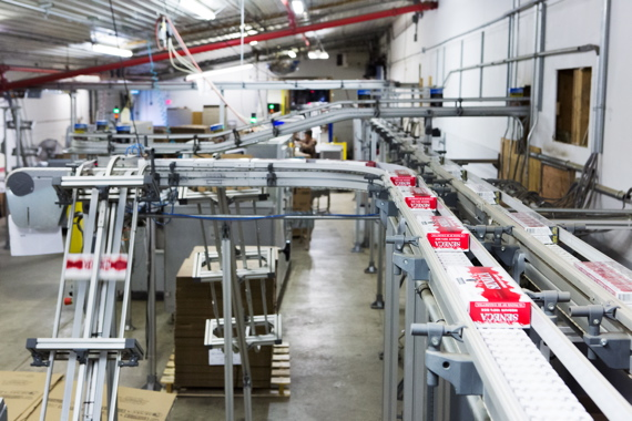 A FlexLink X85 wedge conveyor line at the Grand River Enterprises Ohsweken facility.