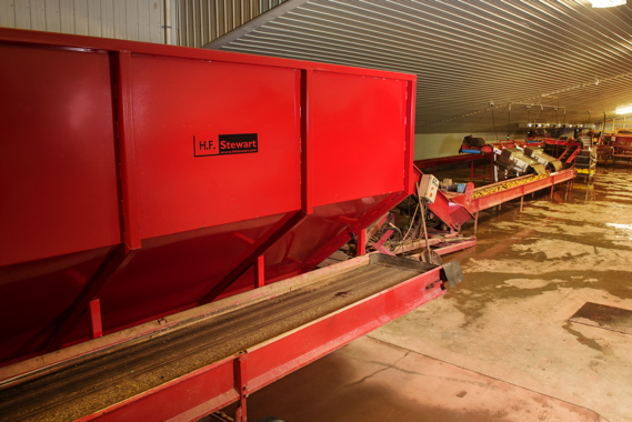 Along with an Even Flow Hopper and Steel Drum washer, Monaghan Farms uses a felt drier for processing of its harvested potatoes, with P.E.I.-based H.F. Stewart supplying all of this equipment.