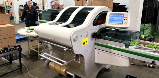 The Fabbri Model 55 Plus stretch wrapping machine from Reiser can overwrap up to 55 trays per minute.