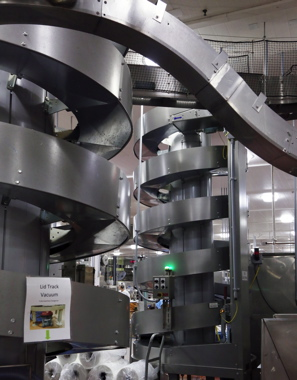 The Unilever plant employs a series of Ryson spiral conveyor systems to transfer boxed product towards the end-of-line packaging.