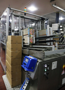 An Imball carton erector uses a Nordson pattern control system for reliable hotmelt adhesive applicating on Unilever's Fruttare frozen fruit bar production line.