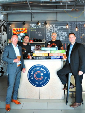 From Left: Joseph Campbell, vice-president of Atlantic Packaging's Colour Group; Collective Arts Brewing's co-founder Matt Johnston and chief operating officer Jeff Tkachuk; Atlantic Packaging's national account executive John Stewart.