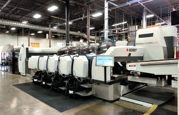 Manufactured by Bobst, the recently-installed 8.20 EXPERTLINE flexo folder-gluer has enabled the Mitchel-Lincoln boxmaking facility to achieve record output speeds.
