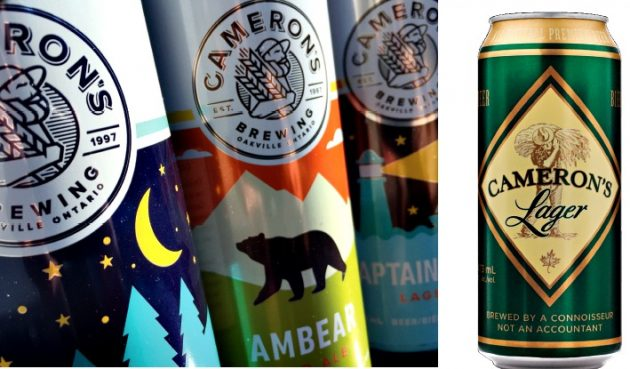 The new graphics for the Cameron's three core beer brands represent a striking departure from the quaint but outdated look of the original cans (right) of Cameron's Lager.