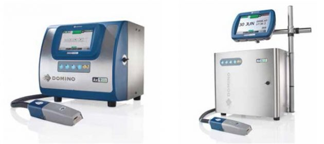 Unveiled after four years of capital-intensive R&D efforts, the new Ax-Series line of continuous inkjet coders from Domino includes the entry-level Ax-150i model (left) and the high-end Ax-550i model with a marine-grade stainless-steel cabinet.