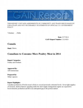 Canadians to Consume More Poultry Meat in 2014_Ottawa_Canada_2-27-2014_Page_1