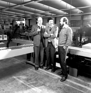 The fathers of the image computer (from left to right): Josef Pecht, Abdelmalek Nasraoui and Alfons Frekers in the 1980s.