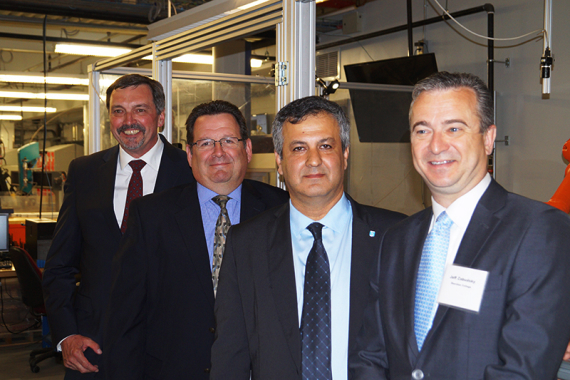 (From left) ABB Canada vice-president and general manager of Discrete Automation and Motion Division Chris Poynter; Casey DiBattista, general manager, ABB Canada; Sheridan associate dean of mechanical and electrical engineering Dr. Farzad Rayegani, and; Sheridan president and chief executive officer Dr. Jeff Zabudsky.