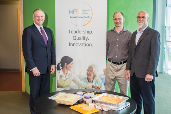 (L-R) Brad McKay, Chief Executive Officer, Healthcare Food Services; Rob Brook, Quality Assurance Manager; Stephane Mutchmore, General Manager, Operations.
