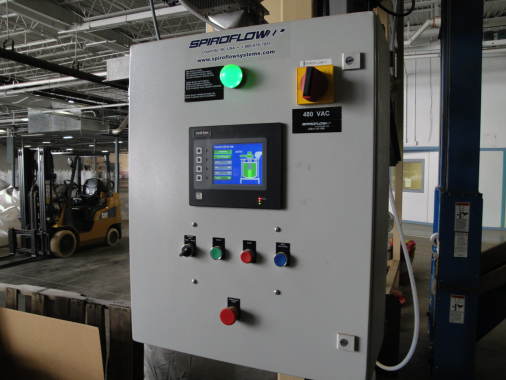 Control panel for the Spiroflow C1-2 bulk bag filler at Golden Grove's peanut packaging facility.