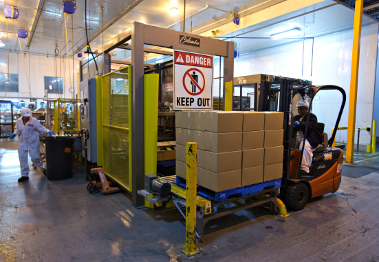 A model FL-100 floor-level palletizer manufactured by Columbia Machine, Inc. is used to form and stack stable layers of cartoned product onto the wooden shipping pallets.