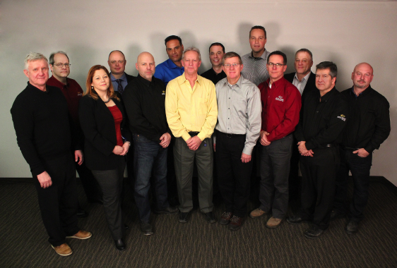 Eclipse Automation's Management Team (Cambridge, Ontario Office) 1st Row (Left to Right): Mimi Brazil (HR Manager); Mike Reiner (Mechanical Production Supervisor); John Byrne (Materials & Quality Manager); Scott Burton (Controller); Kevin Orr (Plant Manager); Gerry Bondy (Plant Manager). 2nd Row (Left To Right): Richard Bula (VP of Information Technology); Andrew Stribling (Sales Manager); Erik Woerner (VP of Operations); Steve Mai (President); Brett Nelles (Service Manager); Art Beijes (Mechanical Engineering Manager); Rob Holl (Controls Engineering  Manager); Tim Bessey (Electrical Production Supervisor).