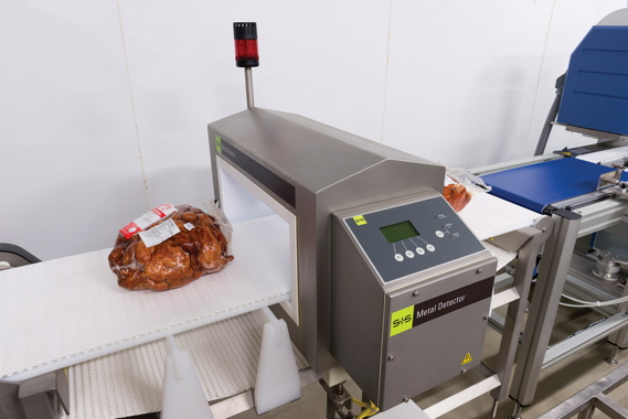 Portioned or whole, all packaged smoked meats pass through a Sesotec metal detection unit as part of Edelweiss Foods' stringent quality assurance program.