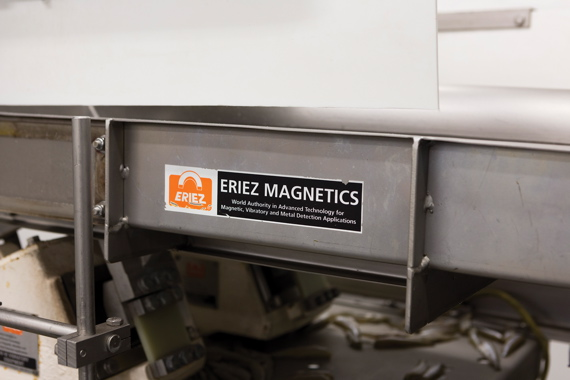 A heavy-duty vibratory conveyor from Eriez Magnetics is one of the key pieces of processing equipment employed at the Great Lakes Food plant's pack room in Chatham.