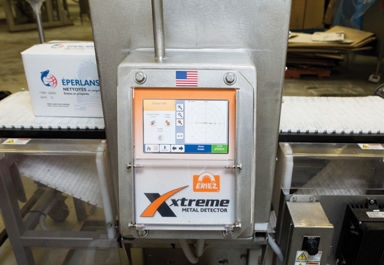 The high-performance Xtreme series metal detection system at the Great Lakes Food plant was custom-engineered with an extra-large aperture to enable a full metal inspection of the larger 10-kilogram boxes used to ship product to the Chinese market.