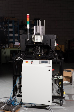 A fully-automatic foil tray denester recently designed and manufactured by Pineberry Manufacturing.