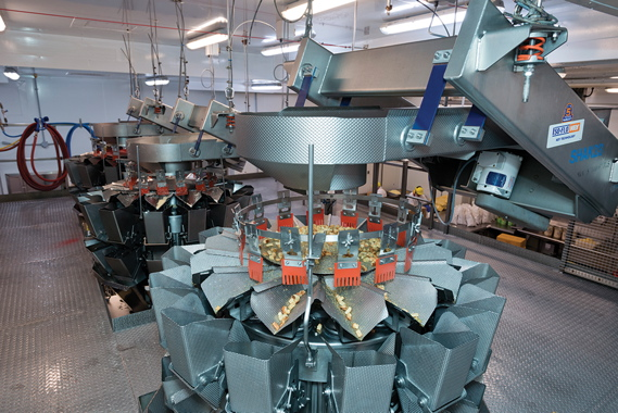 Supplied and installed by Techno-Pak, the Ishida multibucket weighscales dispense precise amounts of fresh produce to feed the Sandiacre bagging system just below.