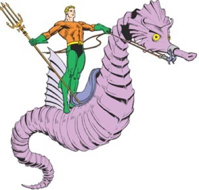 DC Comics Aquaman aboard his seahorse, Storm.