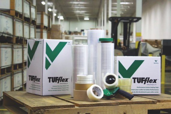 The TUFflex brand of tapes and stretchwrap films marketed by Veritiv Corporation covers a highly diverse range of industrial, acrylic and water-activated carton-sealing tapes, and comprises more than 70 different varieties of stretchwrap films to cover all manual and fully-automated applications.