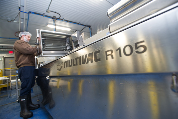 A John O's Foods line operator at the Wheatley production facility performs a quick changeover on the model R 105 thermoform packaging machine from Multivac to set up another production run of packaged freshwater fish fillets.