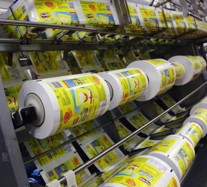 Rollstock pre-printed polywrap film from Sonoco Flexible Packaging is used at the Unilever ice cream facility to make primary packaging for the Spongebob ice treats.