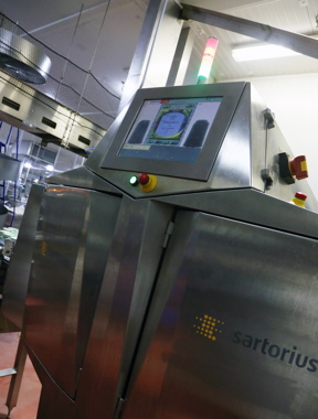 The horizontal X-Ray inspection unit manufactured by Sartorius helps Unilever ensure consistent product quality on its Ben & Jerry ice cream production line.