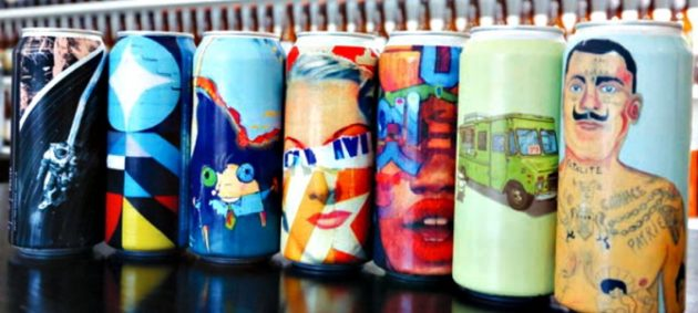 A sampling of the varied original artwork faithfully recreated on the full-body shrinksleeves, supplied by Safety Seal Plastics, used to decorate the 473-ml aluminum cans shipped to the Hamilton brewery by TricorBraun Canada.