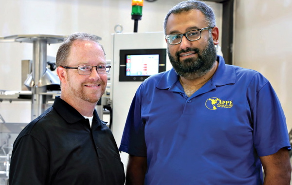 ASCO's national segment manager for packaging, food and pharmaceuticals John Lamb (left) and APPE (American Packaging & Plant Equipment director and national sales manager Al Aman worked together to design and manufacture the Vertobagger 2.0 system, said to be the first made-in-Canada continuous-motion ultrasonic VFFS bagging machine.