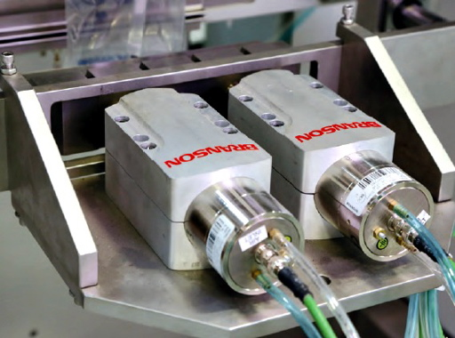 A pair of Branson ultrasonic sealing jaws for horizontal seal on the Vertobagger 2.0 from the Cambridge, Ont.-based packaging equipment manufacturer APPE.