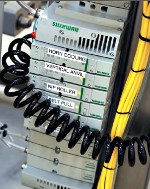 A tower of Numatics G3 Fieldbus that controls all air cylinders within the Vertobagger 2.0 when the PLC provides a signal to the fieldbus to activate.
