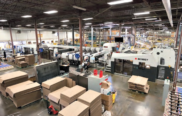 Strategically positioned right at the center of the action of Mitchel-Lincoln's busy 220,00-square-foot production facility, the 8.20 EXPERTLINE flexo folder-gluer manufactured by Bobst has enabled the plant to achieve dramatic productivity improvements.