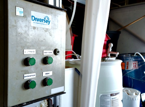 A Sealed Air Diversey Care sanitation station helps the brewer maintain a rigorous hygienic regime at the facility.